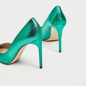 Zara Shoes - Zara Metallic Green Pumps